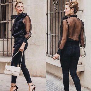 NWT Zara Pussy Bow Tie Semi Sheer Blouse